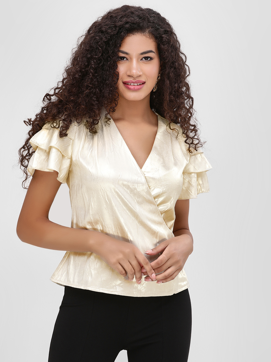 Cover Story Gold Ruffle Sleeve Metallic Wrap Top 1