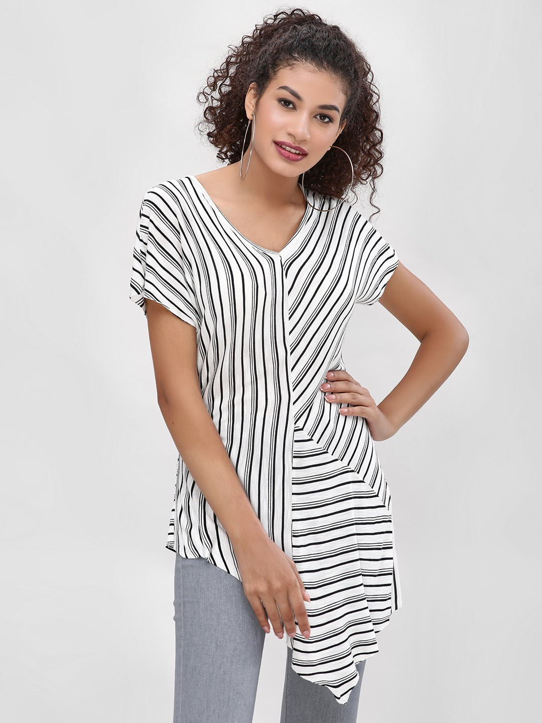 Cover Story White Striped Asymmetric Hem Top 1