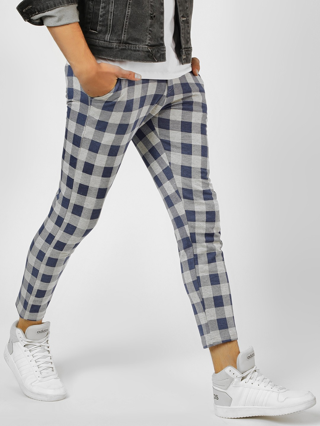 Garcon Grey Multi-Check Skinny Cropped Trousers 1