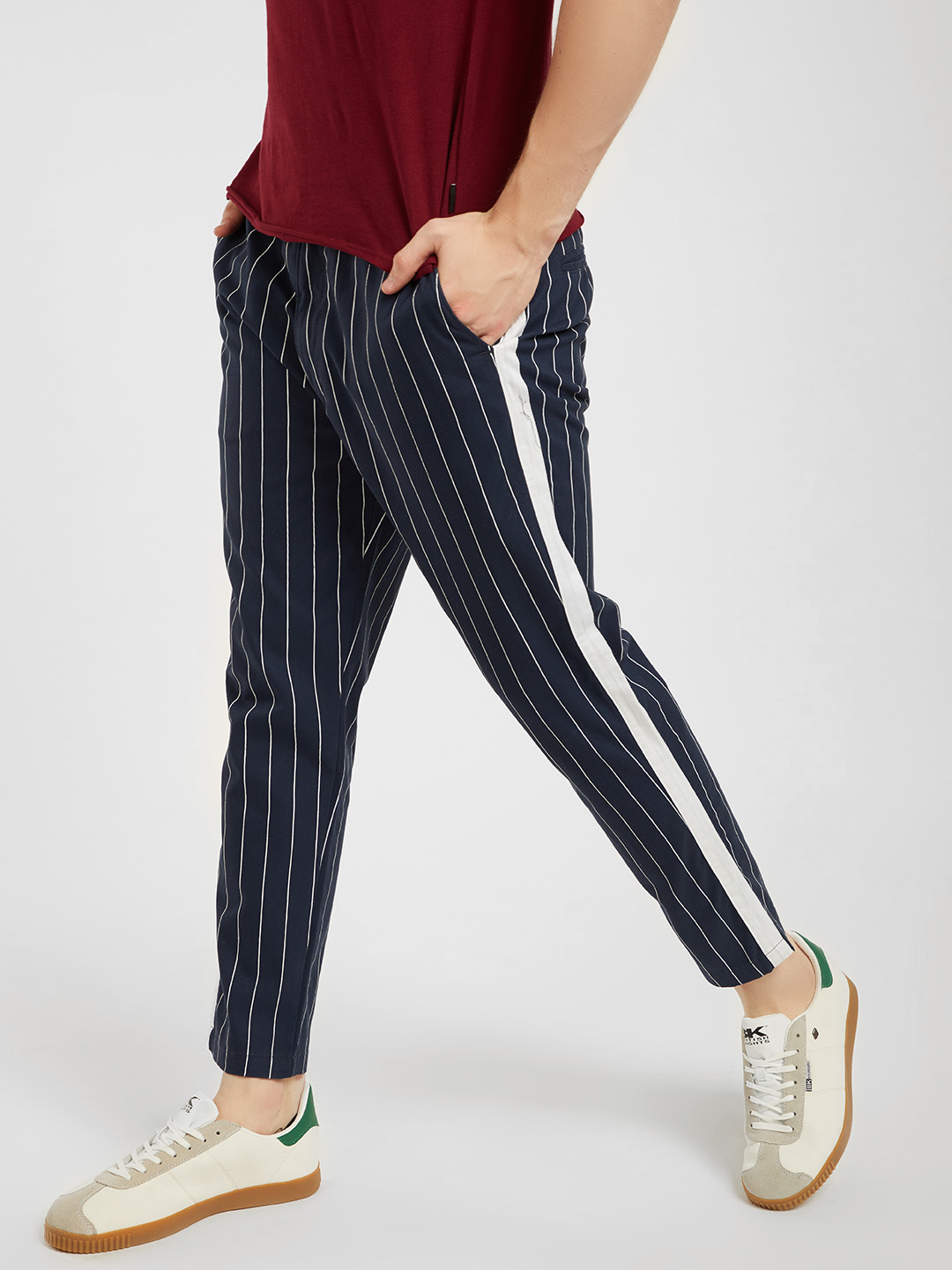 Spring Break Navy Contrast Side Tape Striped Cropped Trousers 1