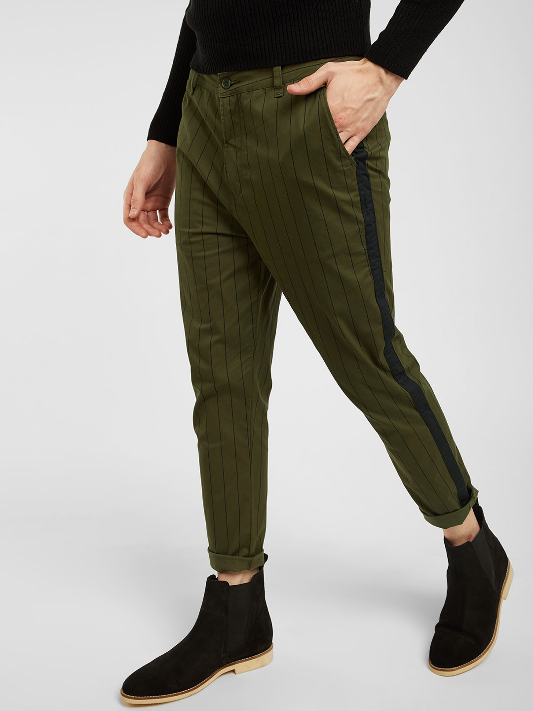 Spring Break Olive Contrast Tape Cropped Trousers 1