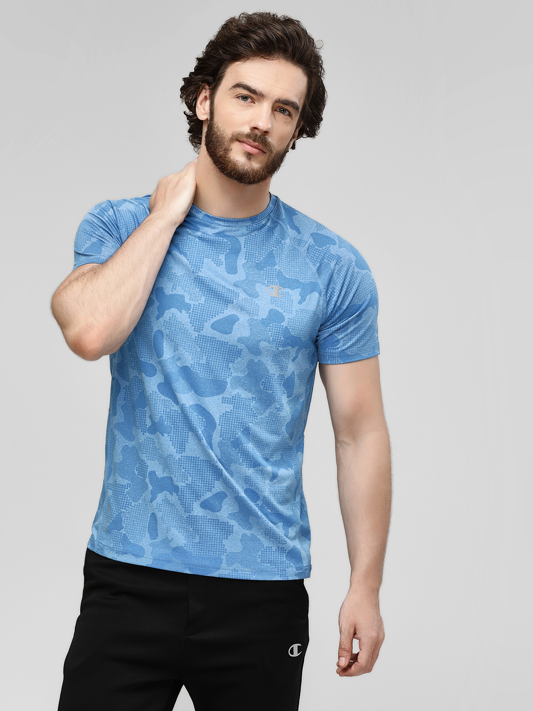 Champion Turquoise All Over Print Active T-Shirt 1