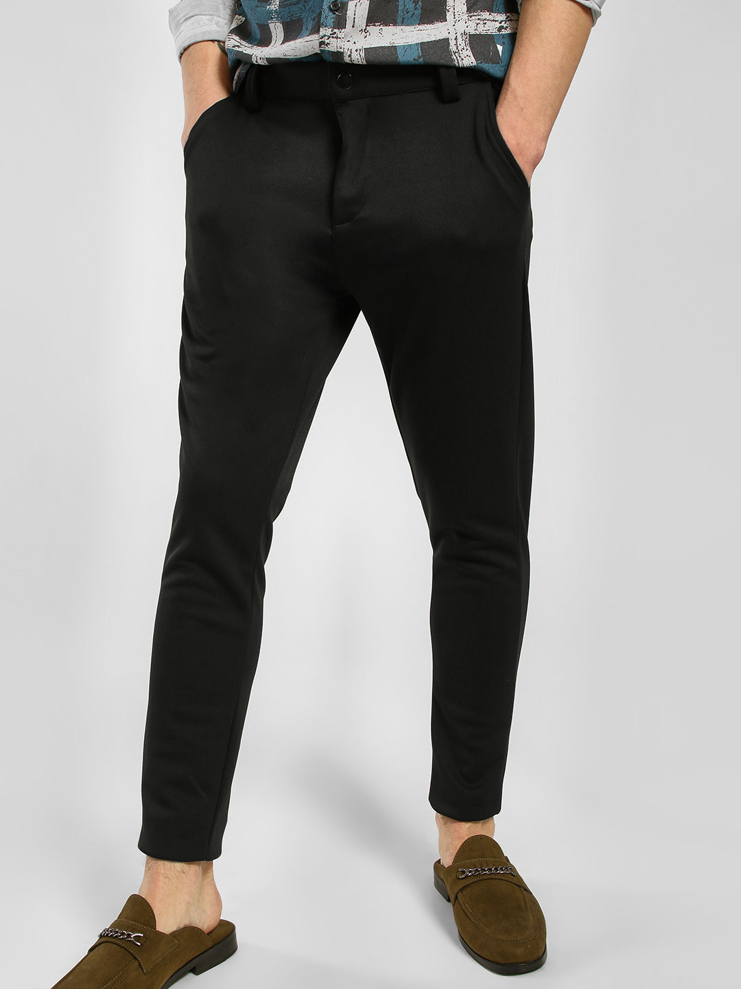 KOOVS Black Knitted Skinny Fit Trousers 1