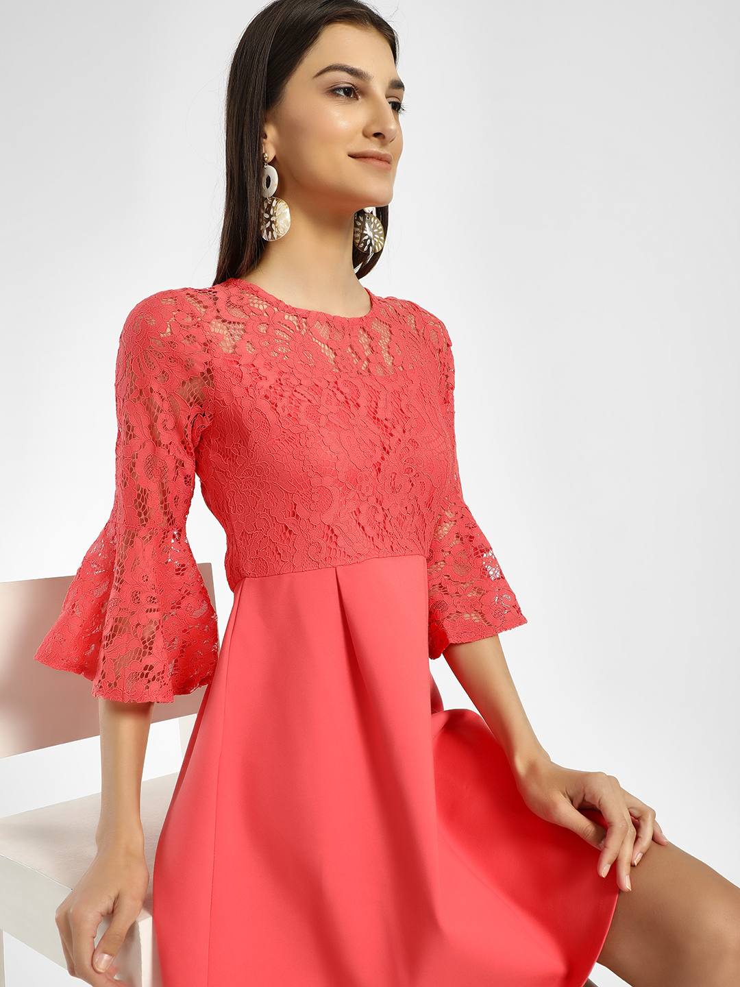 Cover Story Orange Bell Sleeve Lace Skater Dress 1