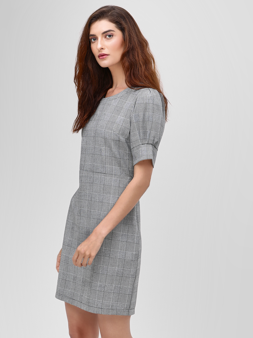 Cover Story Grey Puff Sleeve Checkered Shift Dress 1