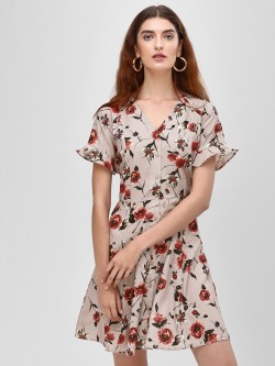 Cover Story Printed V Neck Skater Dress