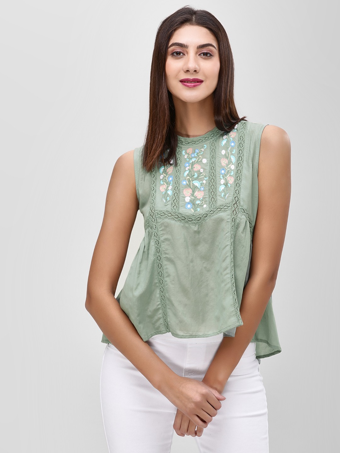 Cover Story Olive Floral Embroidered Sleeveless Blouse 1