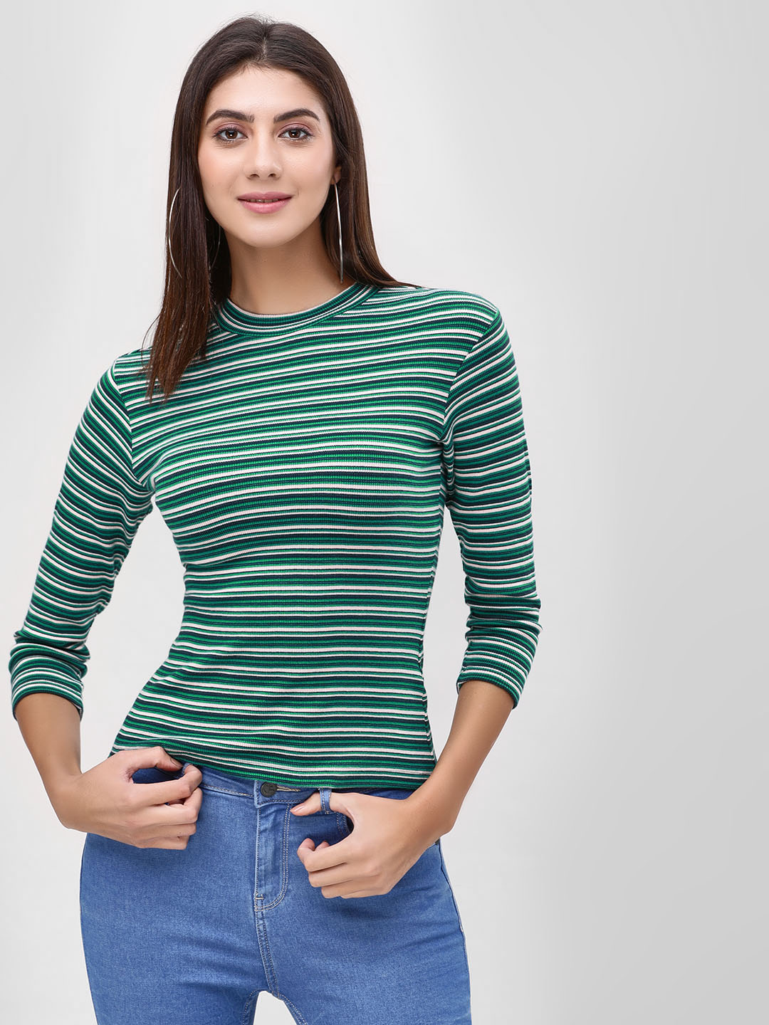 Cover Story Green Striped Long Sleeve T-Shirt 1