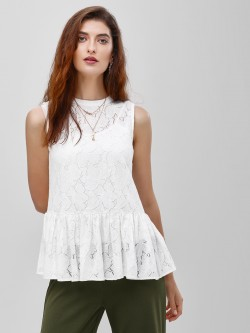 Cover Story Ruffled Hem Sleeveless Lace Top