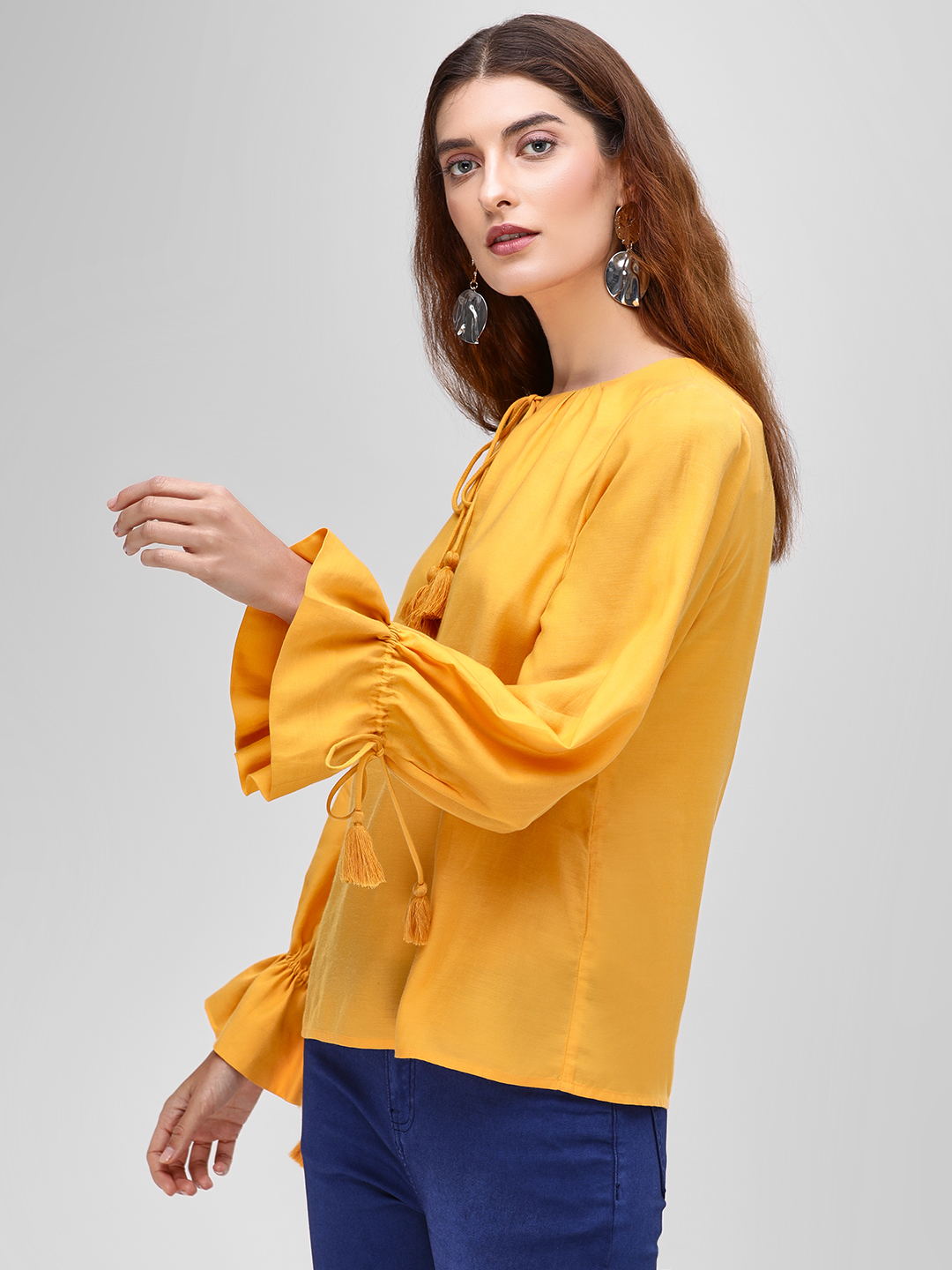 Cover Story Mustard Knot Bell Sleeve Blouse 1