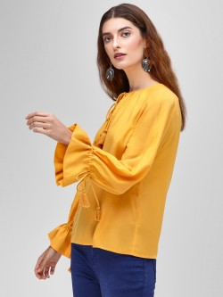 Cover Story Knot Bell Sleeve Blouse