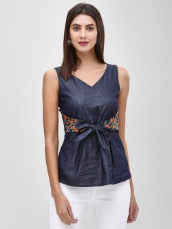 Cover Story Belt Front Denim Blouse