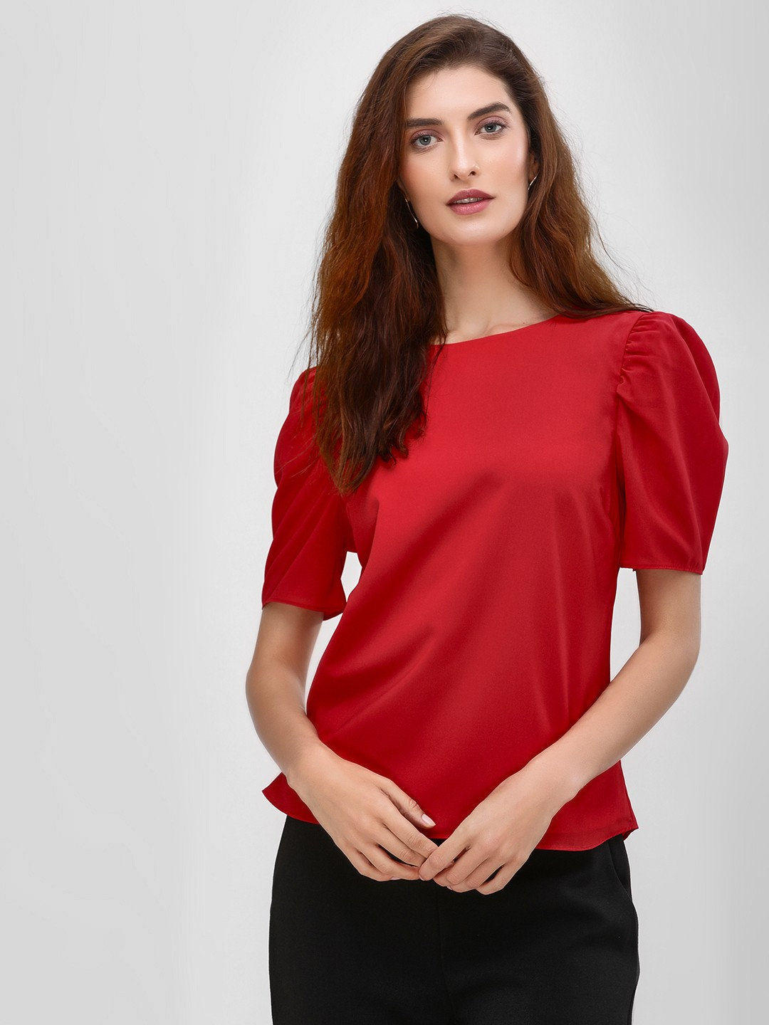 Cover Story Maroon Basic Puff Sleeve Blouse 1