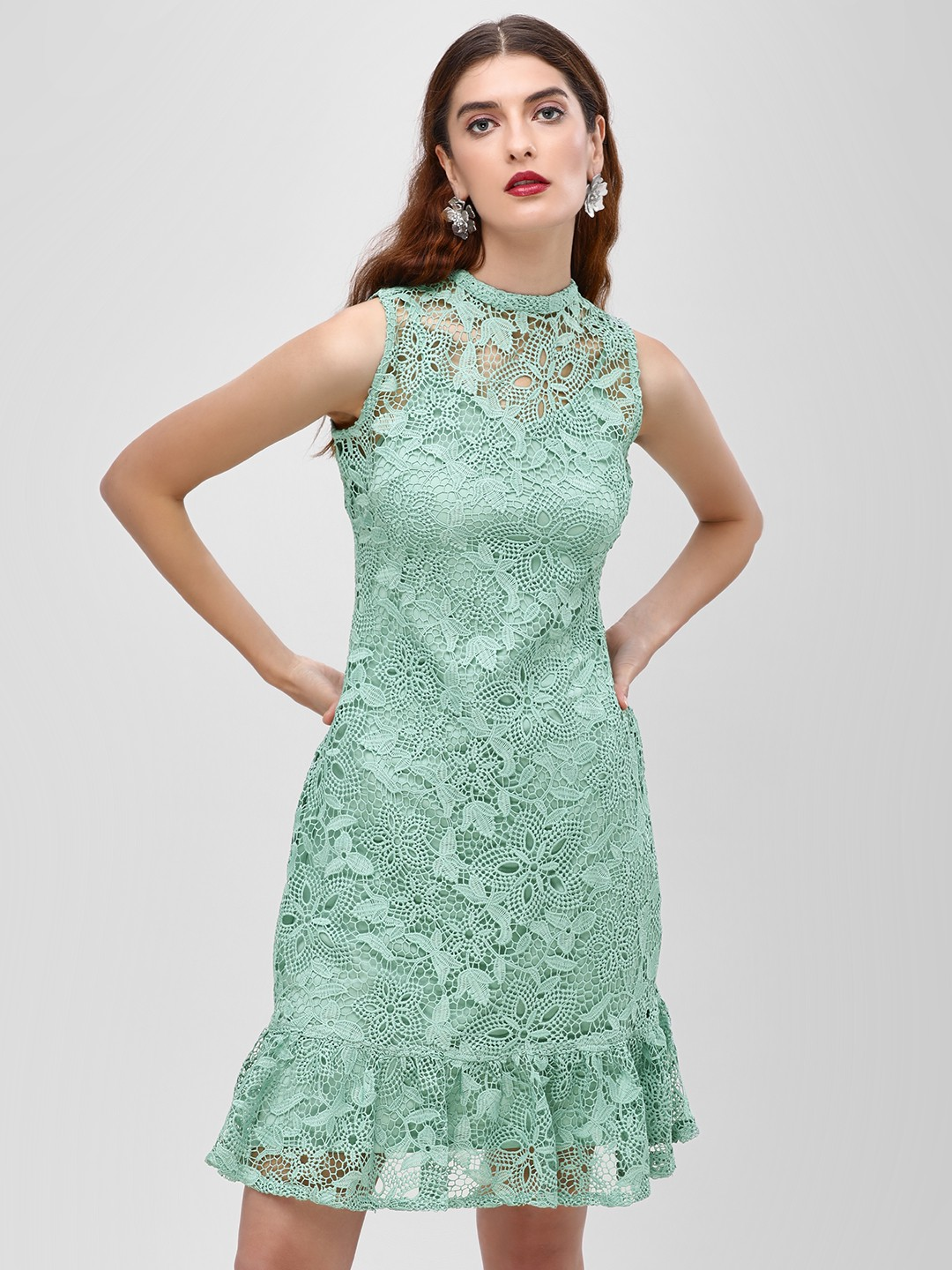 Cover Story Green Bodycon Dress With Lace Detail 1