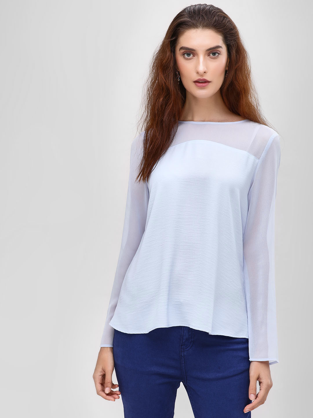 Cover Story Blue Blouse With Flared Sleeves 1