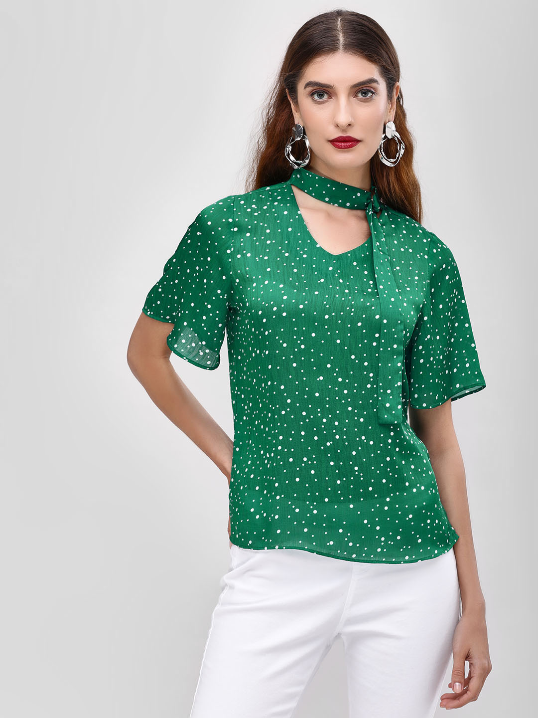 Cover Story Green Printed Blouse With Tie Detail 1
