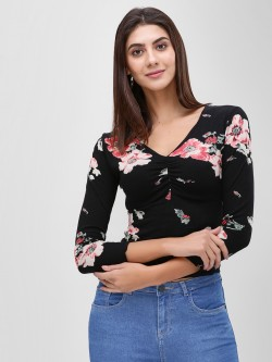 Cover Story Ruched Front Floral Printed Blouse