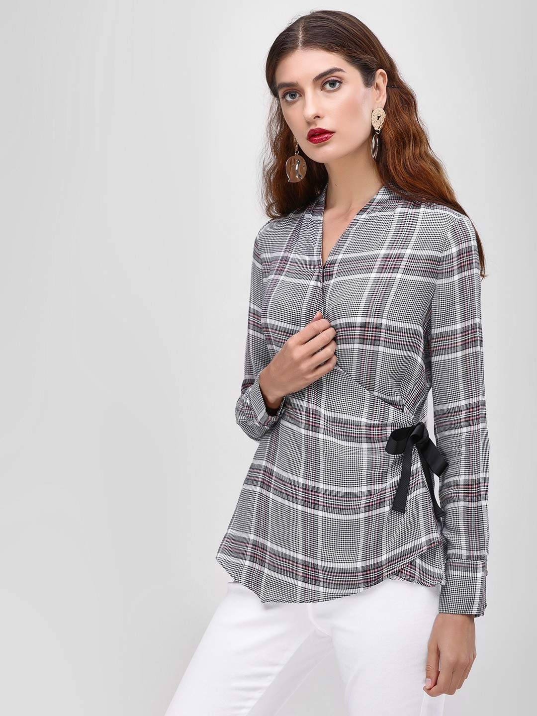 Cover Story Grey Checkered Side Wrap Blouse 1