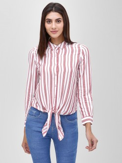 Cover Story Striped Blouse With Tie Knot