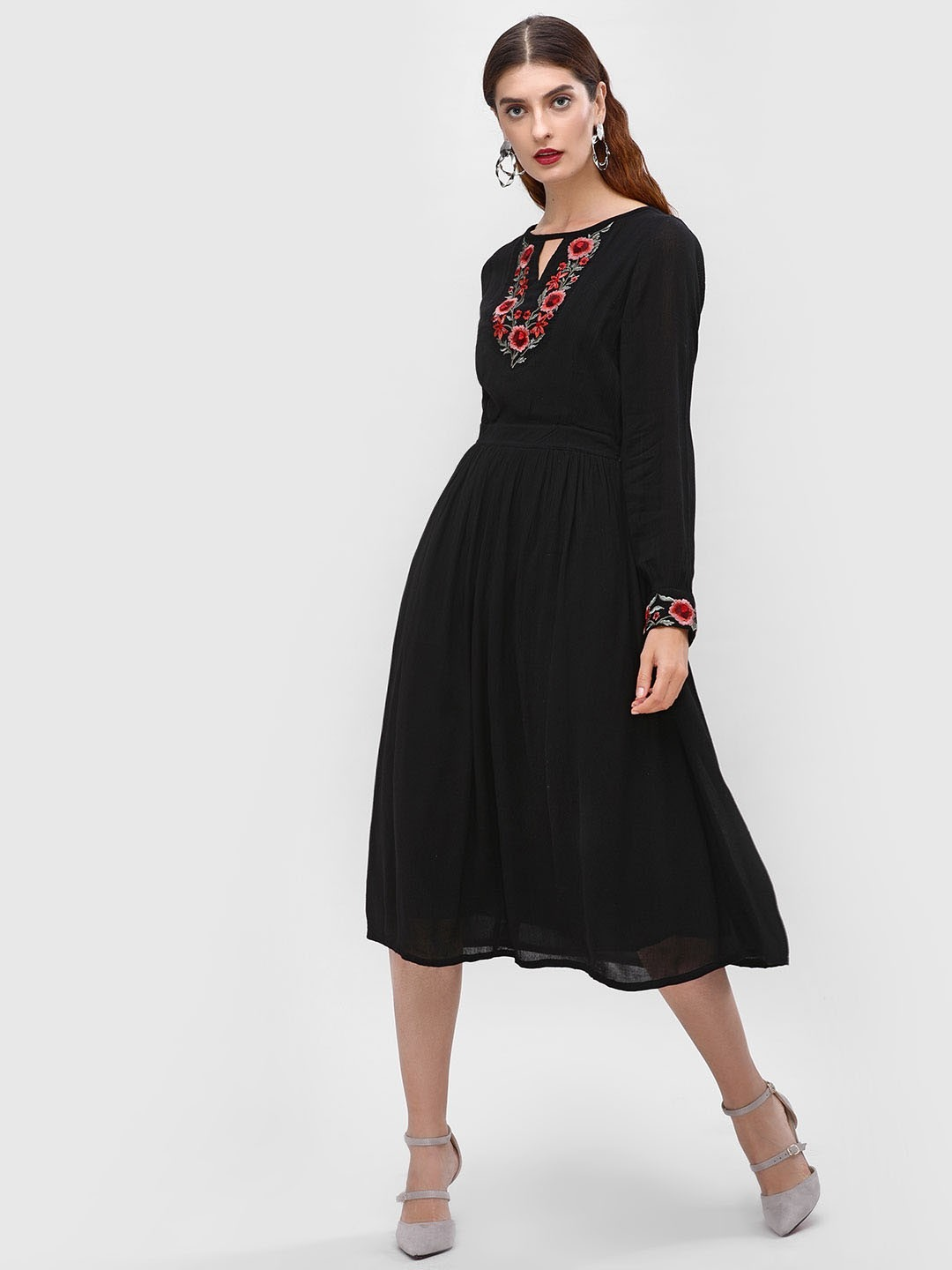 Cover Story Black Embroidered Skater Midi Dress 1