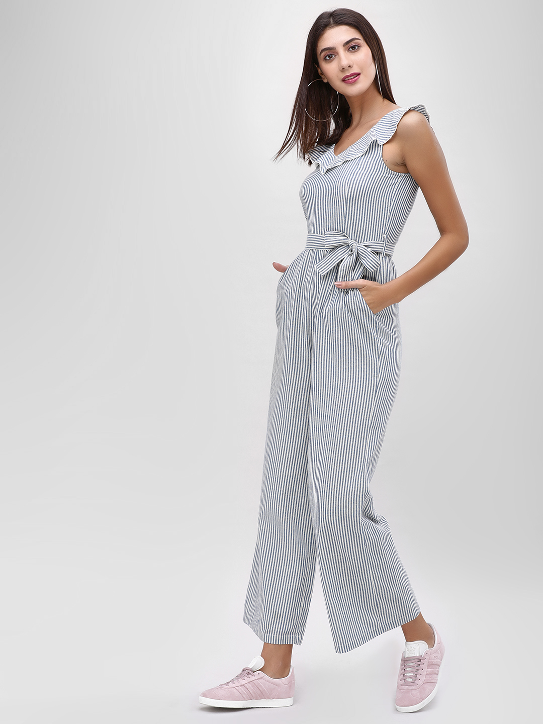 Cover Story Blue V-Neck Jumpsuit With Stripes 1