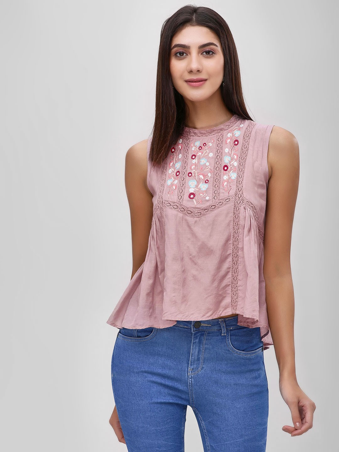 Cover Story Blush pink Floral Embroidered Sleeveless Blouse 1