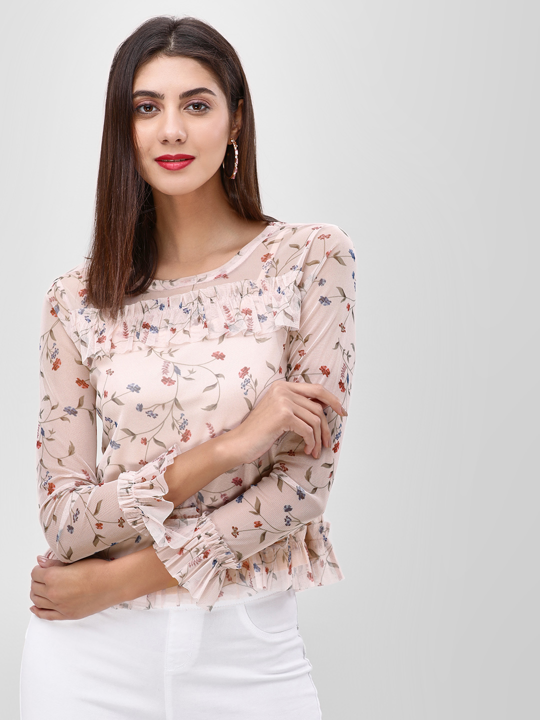 Cover Story Beige Floral Printed Mesh Top 1