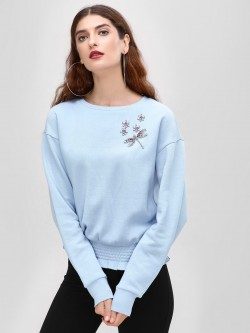 Cover Story Embellished Cinched Hem Sweatshirt