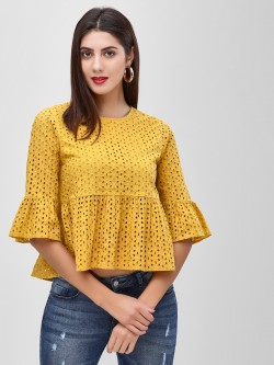 Cover Story Broderie Peplum Blouse