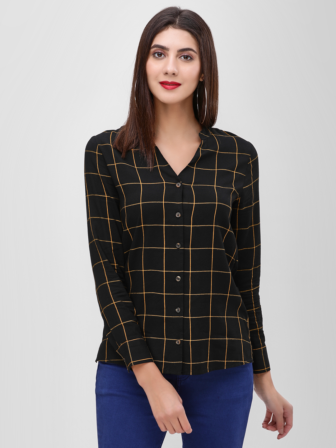Cover Story Black Windowpane Check V-Neck Shirt 1
