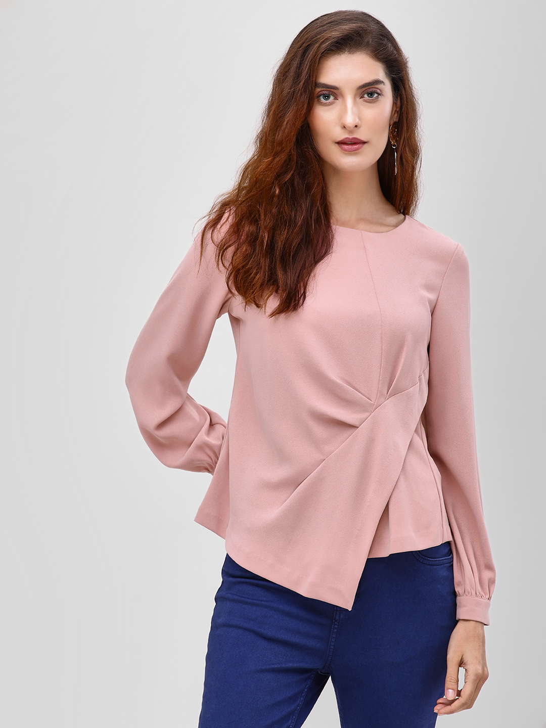 Cover Story Beige Pleated Side Long Sleeve Blouse 1
