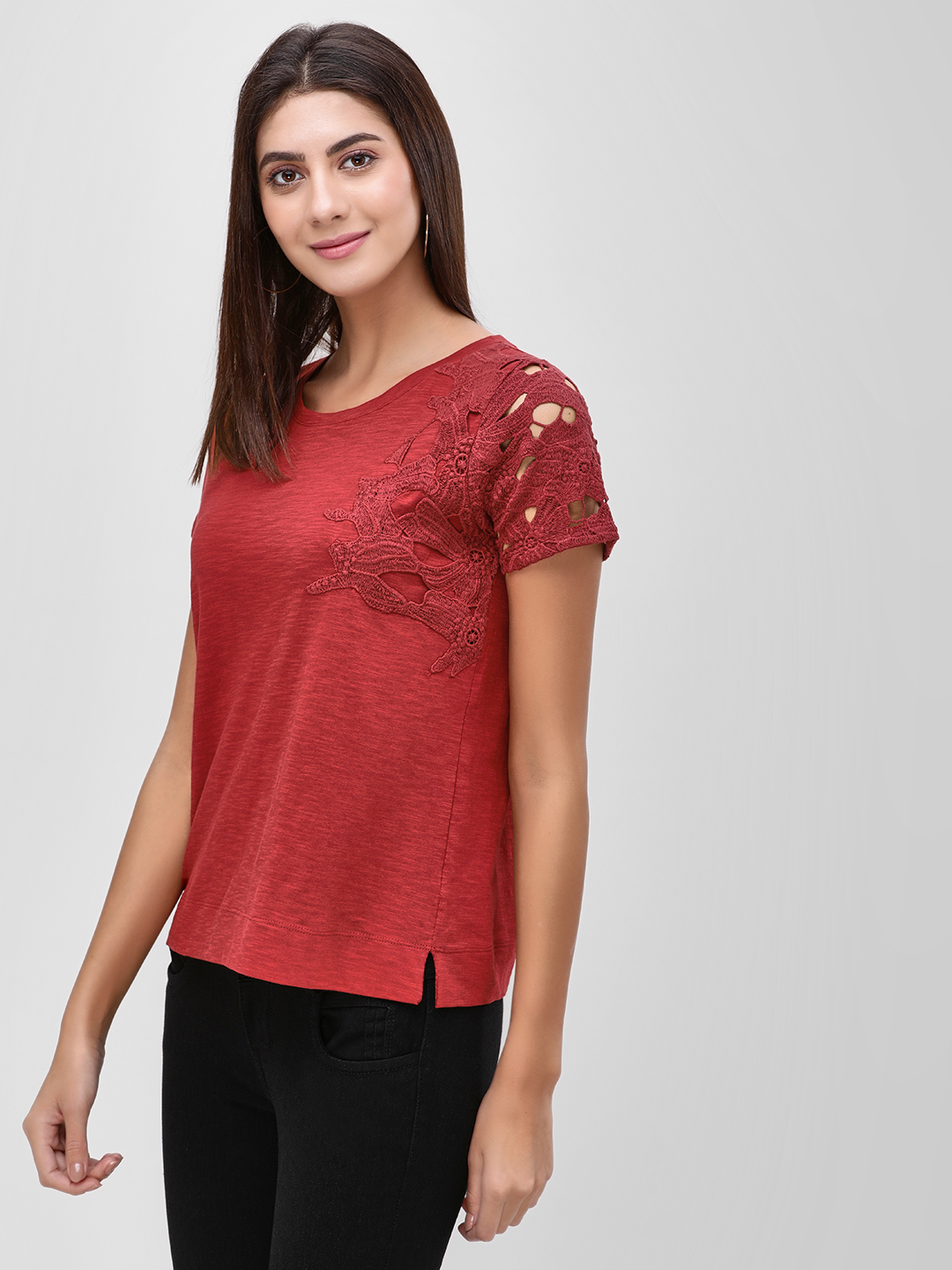 Cover Story Wine Half Crochet Lace Sleeve T-Shirt 1