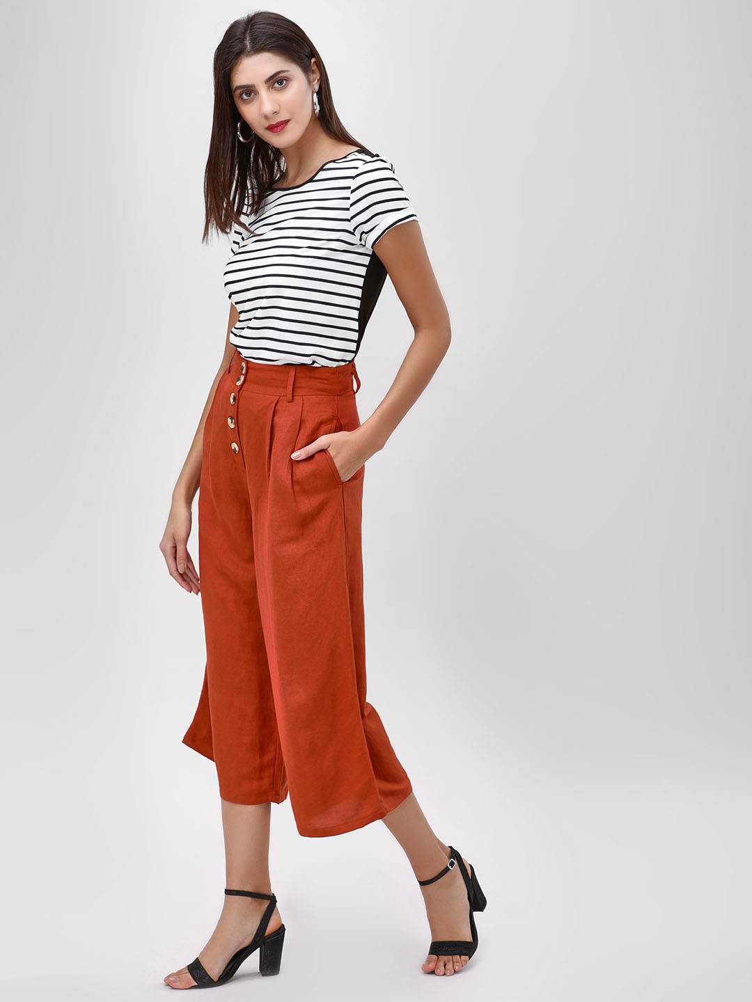 Cover Story Rust Plain Culottes With Button Detail 1