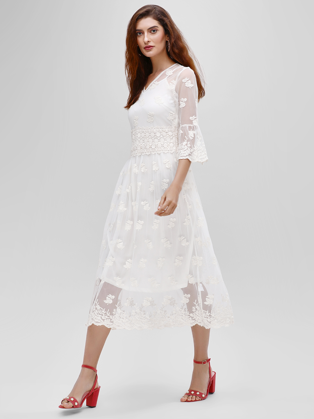 Cover Story Off White Floral Mesh Lace Midi Dress 1