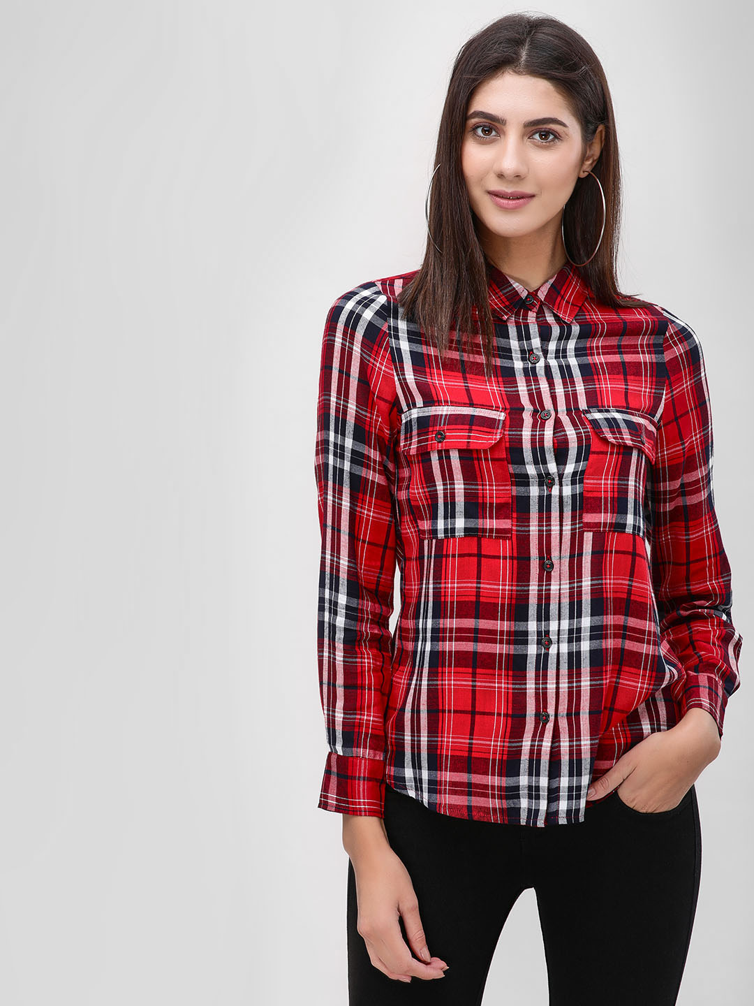 Cover Story Red Black Check Long Sleeve Shirt 1