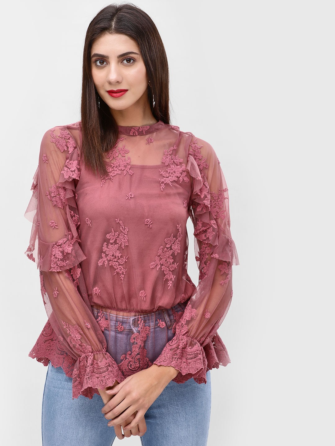 Cover Story Mauve Embroidered Long Sleeve Blouse 1
