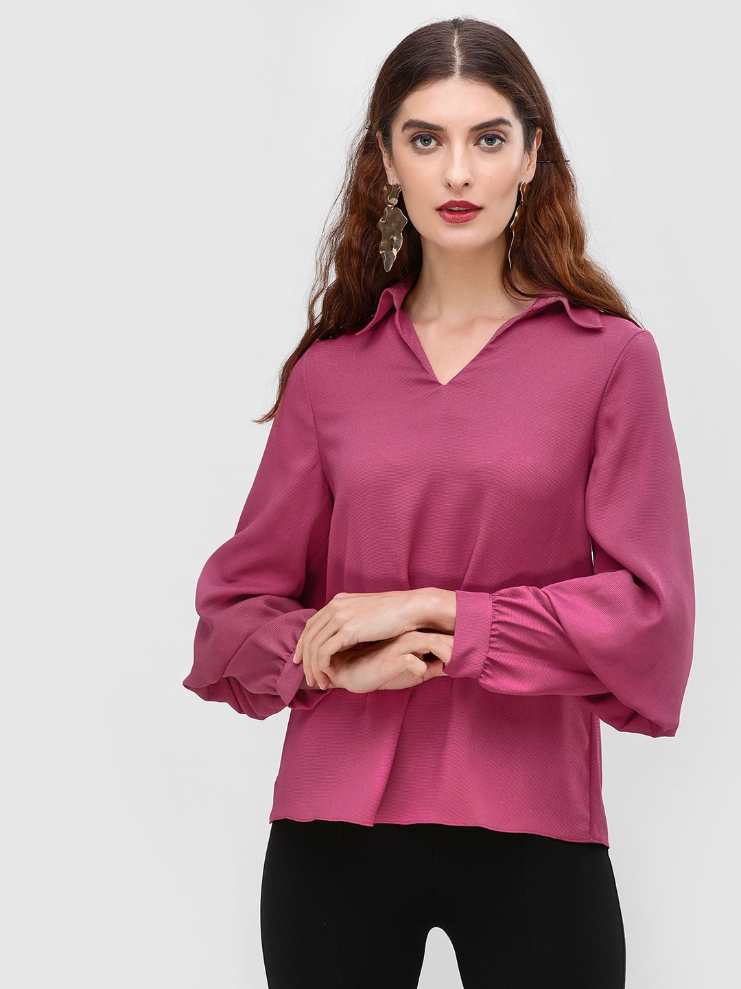 Cover Story PLUM Longline Blouse With Tiered Sleeves 1