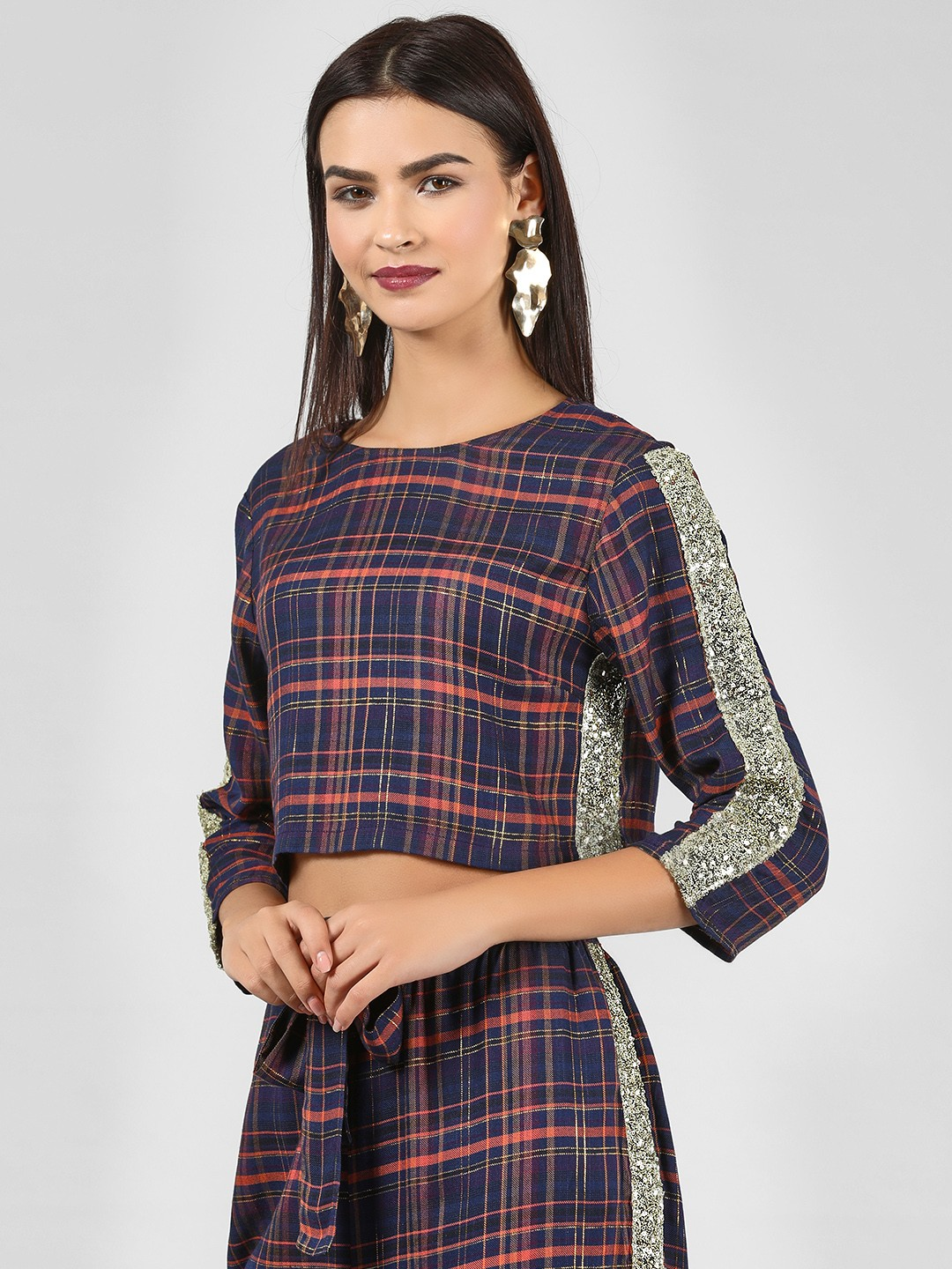 KOOVS Multi Sequin Side Checkered Crop Top 1