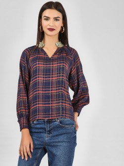 KOOVS Sequin Collar Multi-Check Top