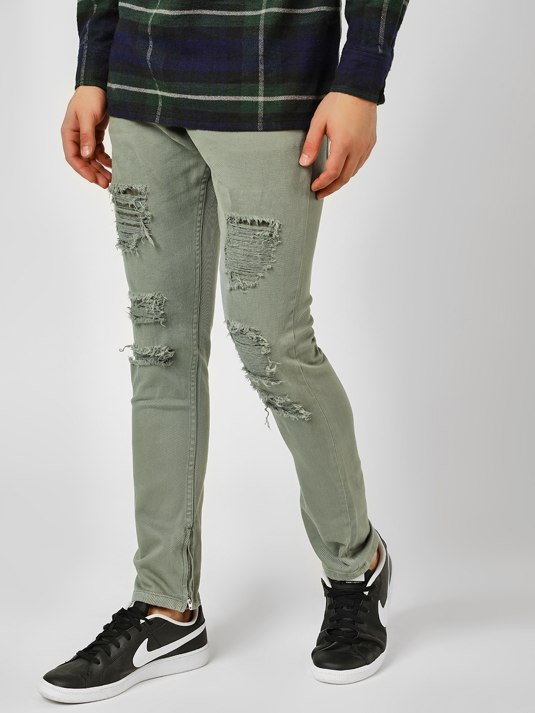 Blue Saint Grey Distressed  Overdyed Skinny Jeans 1