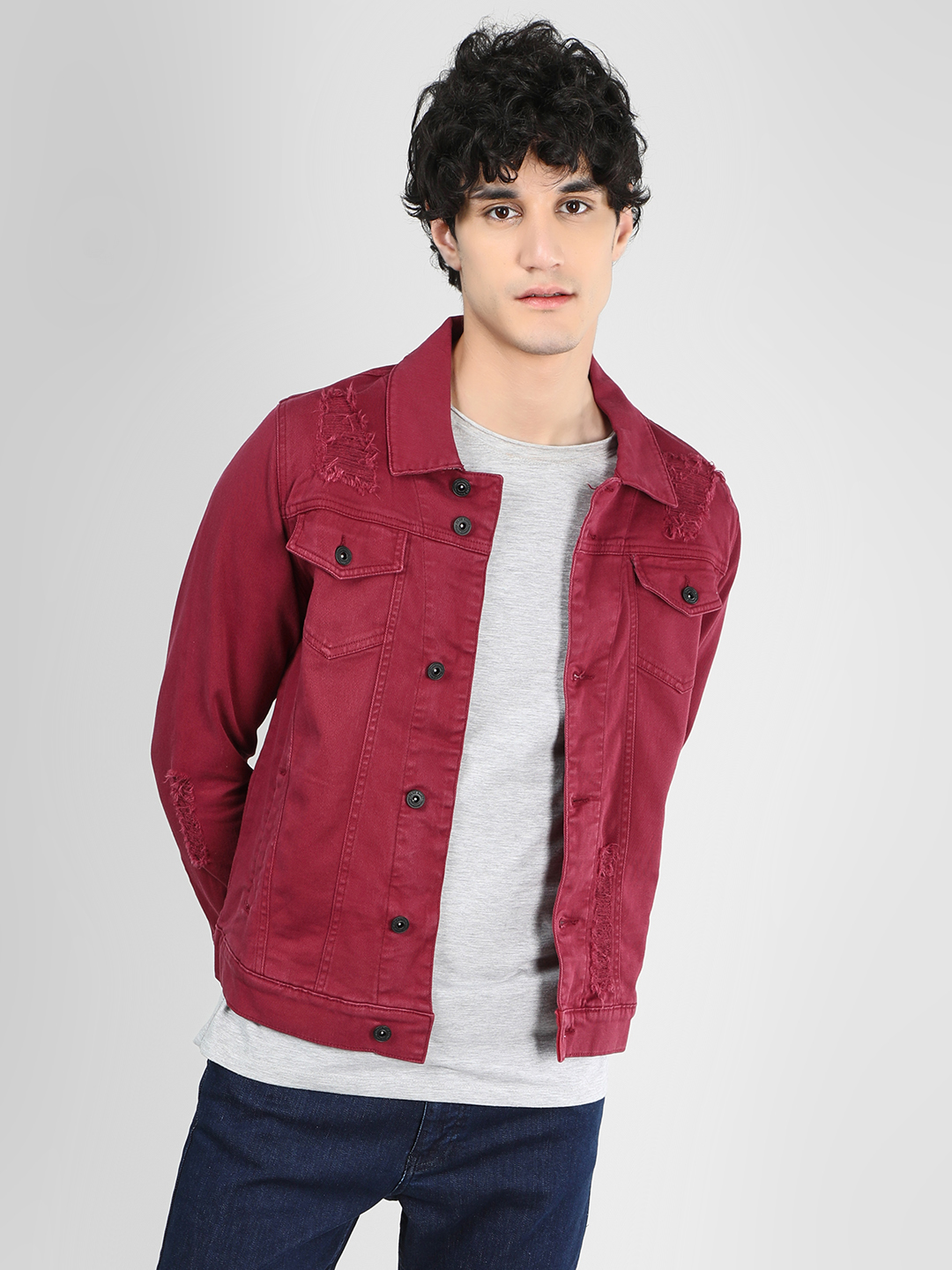 Blue Saint Red Overdyed Distressed Slim Jacket 1
