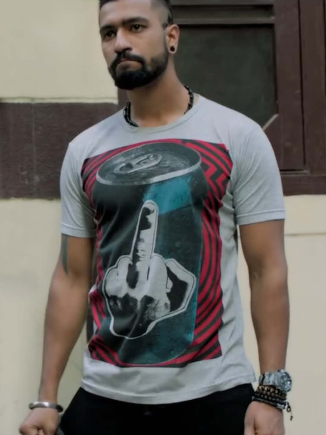 Bollywoo Grey In The Style Of Vicky Kaushal Print T-Shirt 1