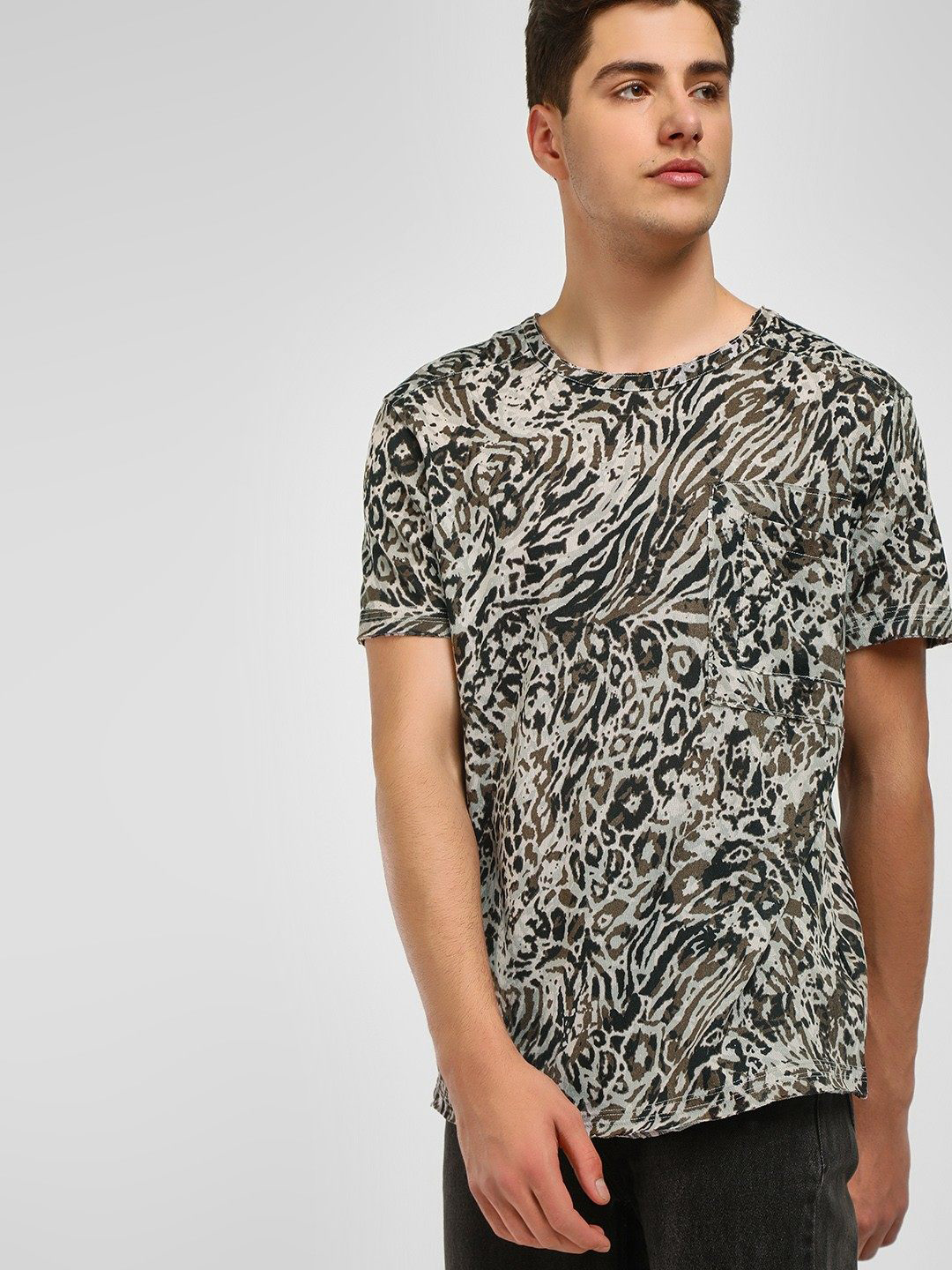 KOOVS Multi Abstract Leopard Print T-Shirt 1