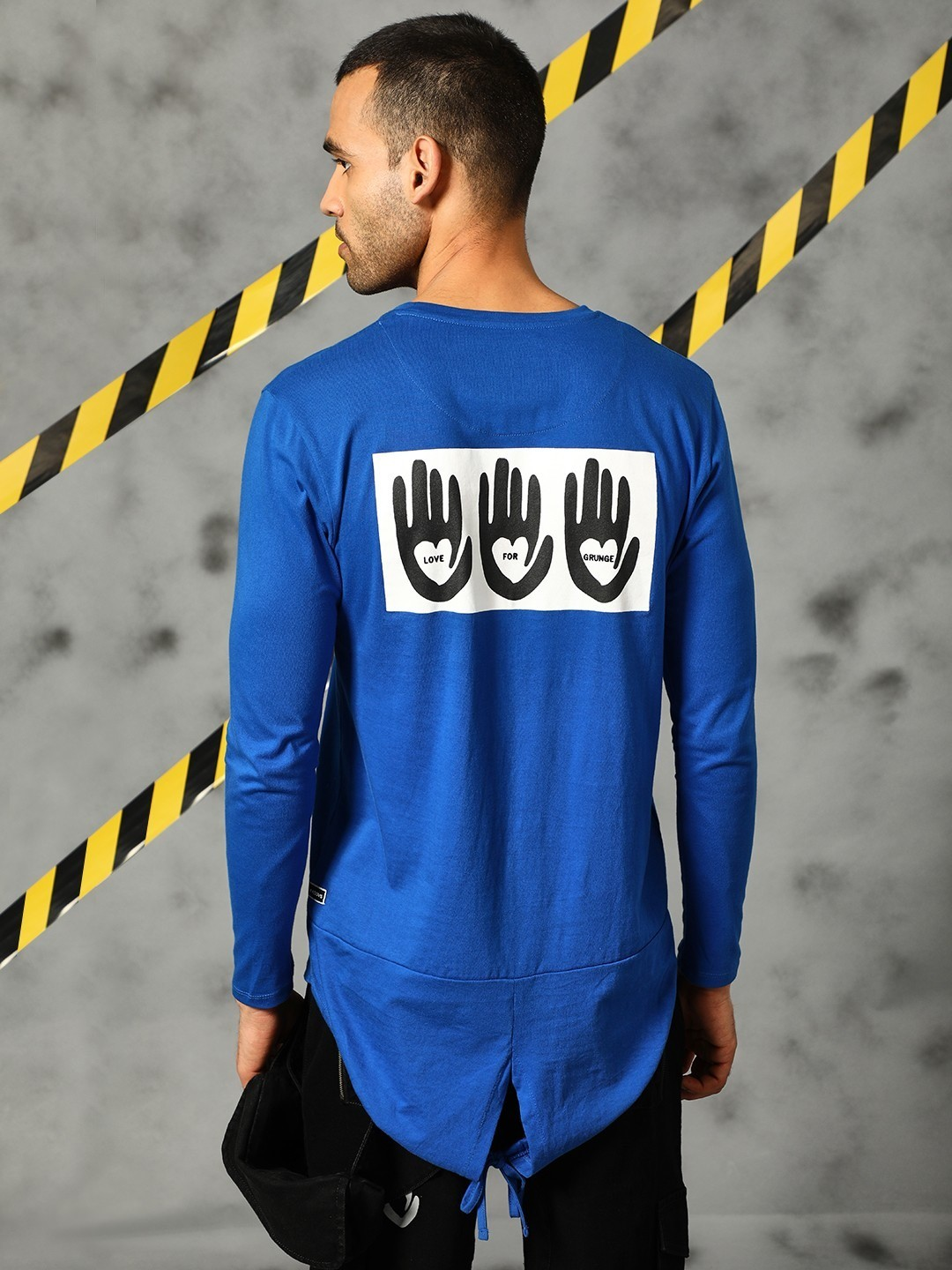 KUNAL RAWAL X KOOVS Blue Printed Fishtail Long Sleeve T-Shirt 1