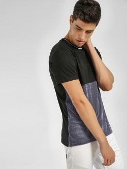 KOOVS Cut & Sew Velour T-Shirt