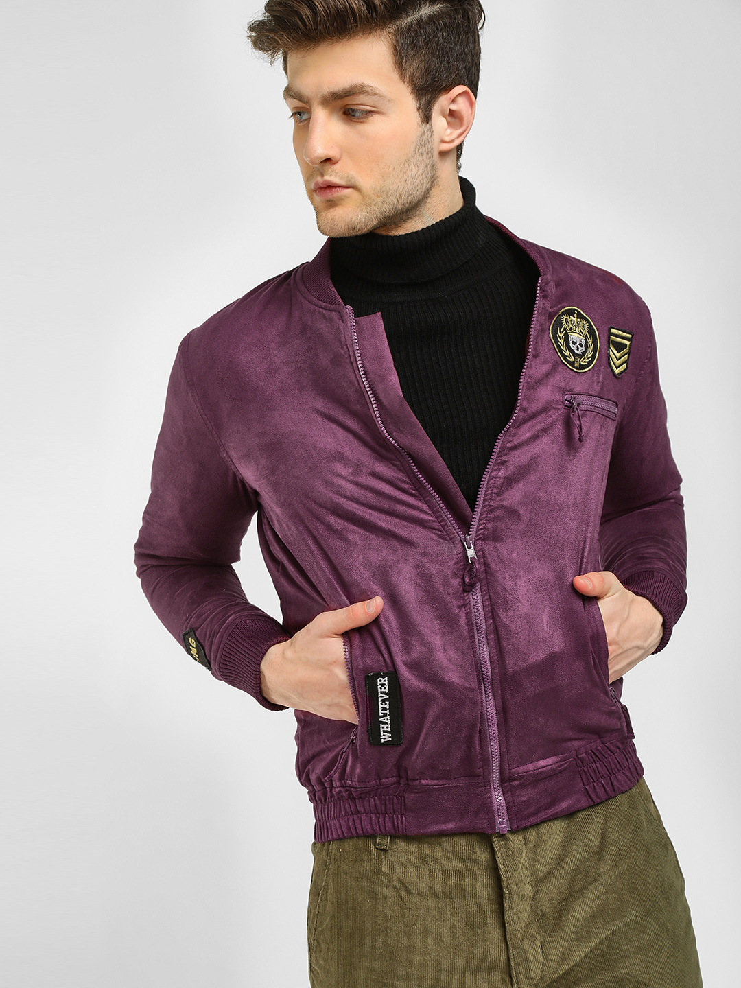 KOOVS Burgundy Suede Finish Bomber Jacket 1