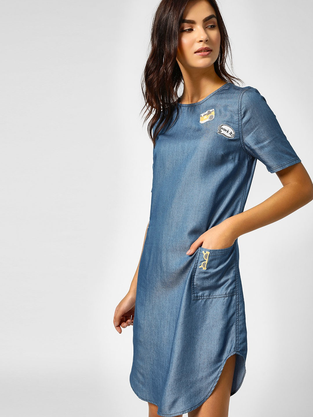 PostFold Blue Mini Dress With Embroidered Badges 1