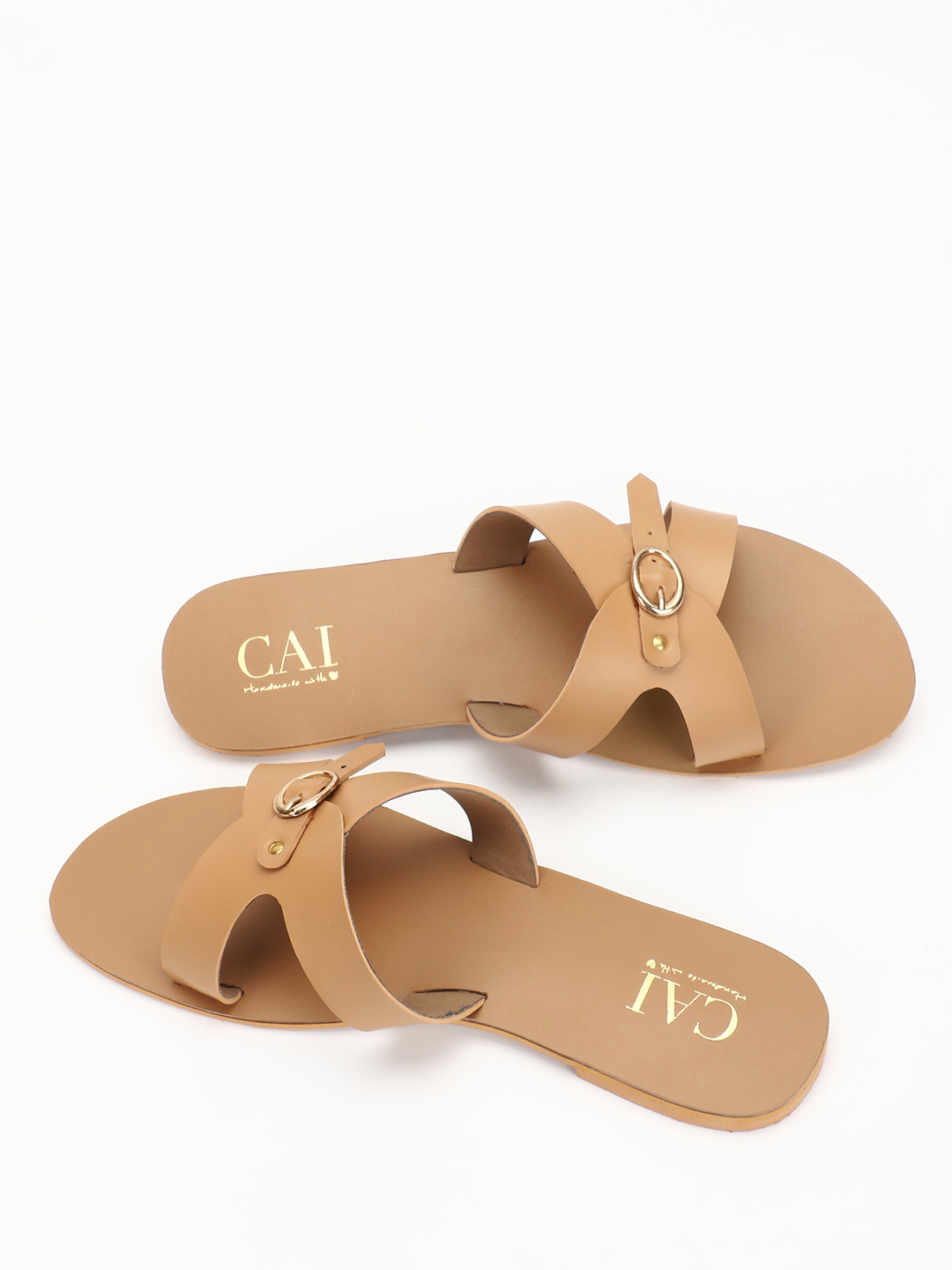 CAi Beige Pin Buckle Strap Flat Sandals 1