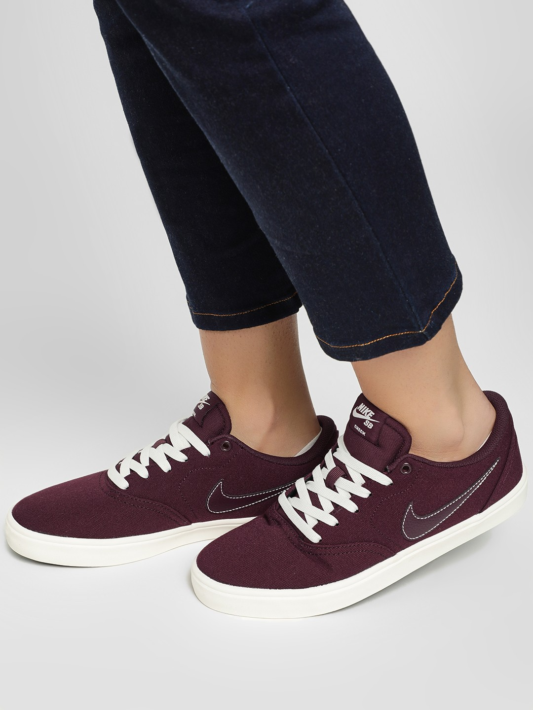 Nike Burgundy Sb Check Solar Canvas Shoes 1