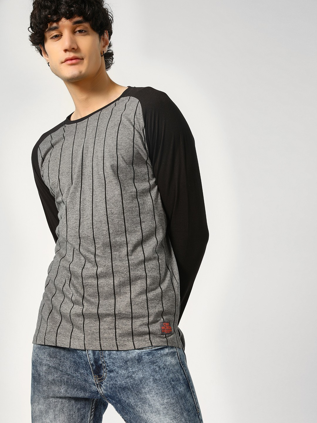 Cult Fiction Grey Striped Raglan Sleeves T-Shirt 1
